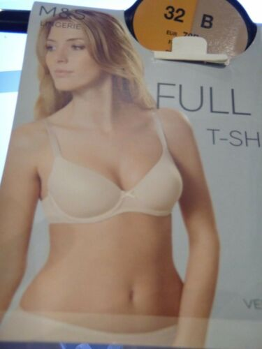 MARKS /& SPENCER 2 PACK BRA BEIGE WHITE PADDED FULL CUP T SHIRT UNDERWIRED 32 ABC