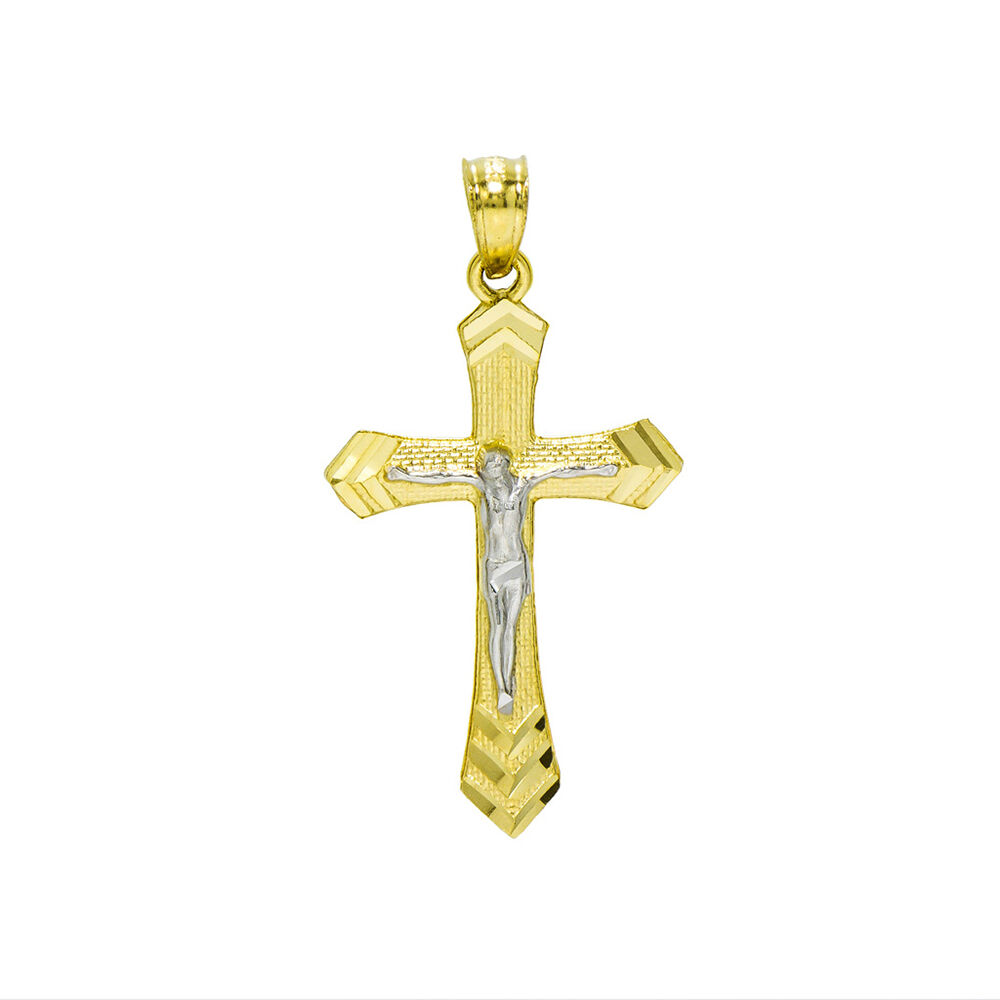 14K Two Tone gold Jesus Christ Cross Charm Pendant, 1.07 Inches