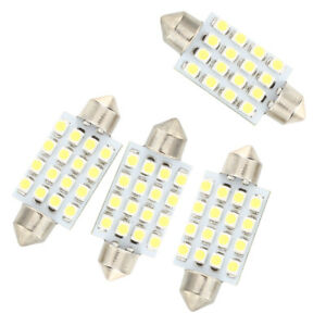 4-pzs-42mm-16-SMD-LED-Blanco-Bombilla-Luz-Interior-feston-cupula-coche-X4E8