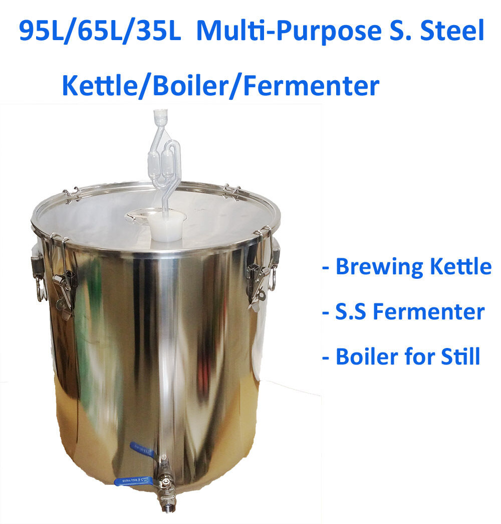 95L 65L 35L Multi Purpose Stainless Steel Brewing Kettle Boiler Fermenter