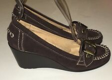 Womens Naturalizer Tempero Brown Suede Leather Comfort Buckle Wedge Size 6