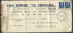 ITALY-1945-CIVIL-amp-MILITARY-CENSORED-COVER-ROME-TO-NEW-YORK-USA