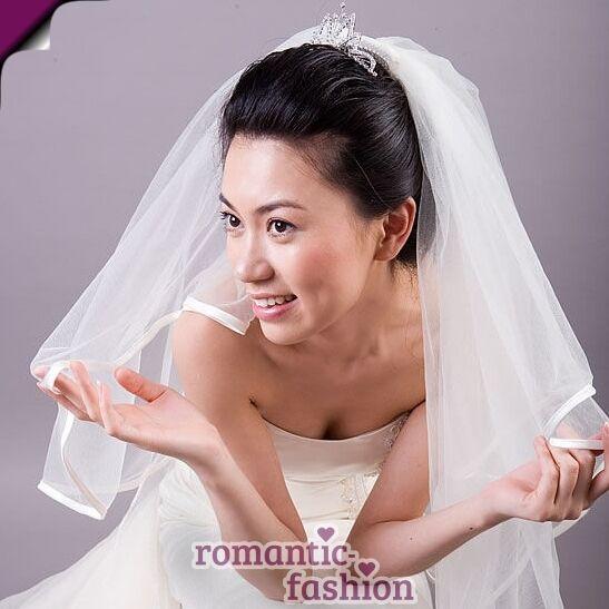 ♥ Brautschleier mit Satinkante in Weiß oder Creme+NEU+SOFORT+PL9009 ♥