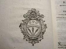 Penada Jacopo : Ragguaglio Epizoozia Bovina - Padova 1821 Veterinaria Araldica