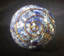 LARGE (60-70mm) SODALITE ORGONE GEMSTONE SPHERE ORGONITE SPHERE