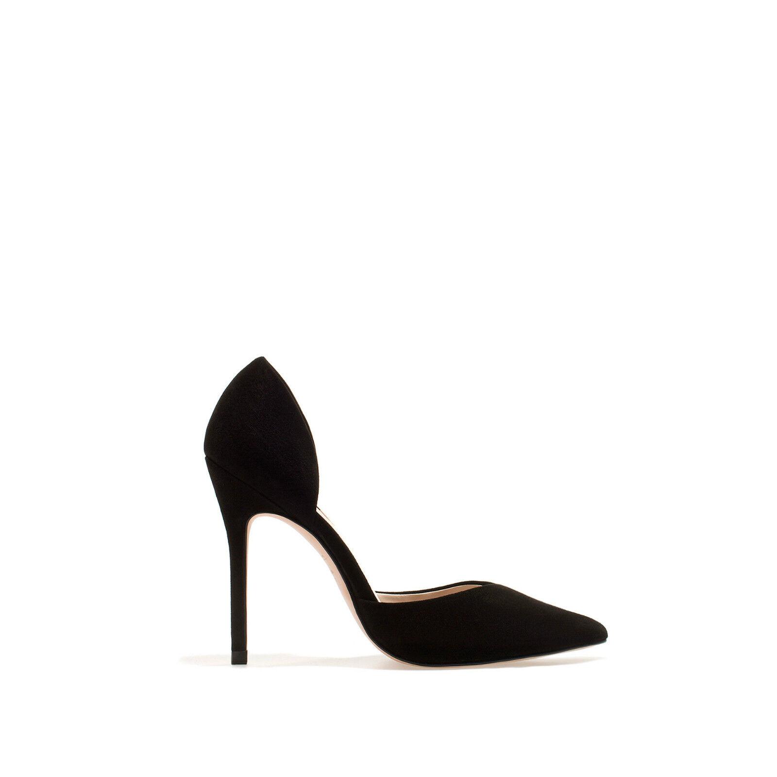 ZARA BLACK SUEDE VAMP HEEL PUMP Schuhe ALL SIZES REF. 1198/201/040