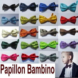 PAPILLON-BAMBINO-BIMBO-SETA-RASO-CRAVATTINO-Grigio-Turchese-Tiffany-Giallo-Verde