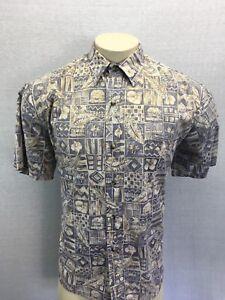 Tori-Richard-Hawaiian-shirt-Men-039-s-L-Hawaii-USA-Brown-100-Cotton-Reverse-Print