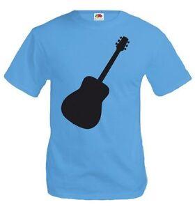 Herren-Unisex-Kurzarm-T-Shirt-Akustikgitarre-Lagerfeuer-Student-Meer-beach