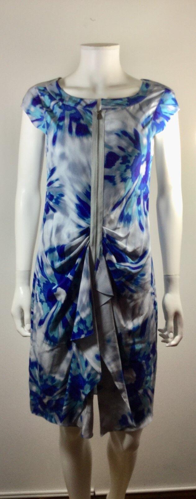 BCBGMAXAZRIA bluee Print Cap Sleeve Zip Front Marisol Dress Size 4