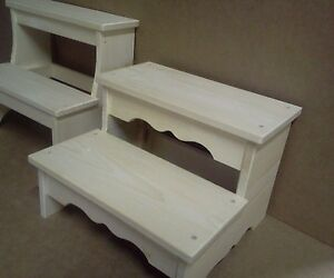 Wooden Wide 2 Step Foot Bed Stool Unfinished Pine Wood Boy