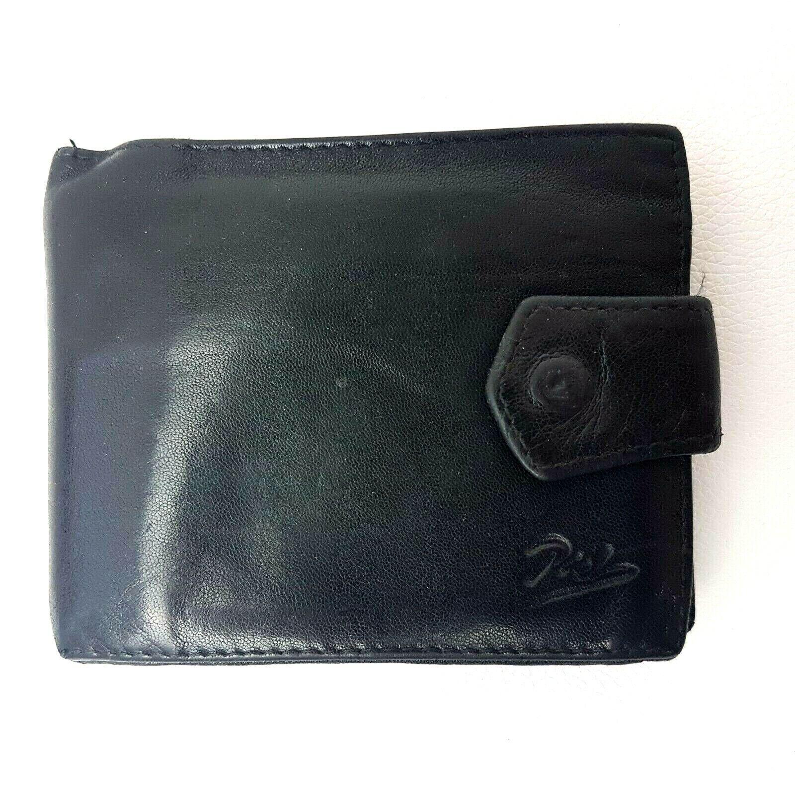 Piel Mens Leather Wallet Black Bifold 4.5