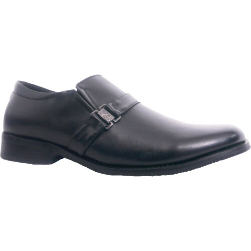 Mens Wide Fitting Leather Look Slip Ons Black Buckle Wedding Party Formal Shoes