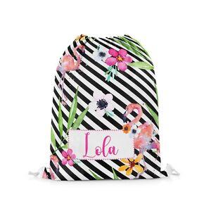 Personalised Tropical Flamingo Floral Kids Swimming School Drawstring Bag #04