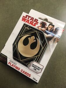 STAR-WARS-HEROES-PLAYING-CARDS-The-Last-Jedi-In-Collectible-Embossed-Tin-NEW