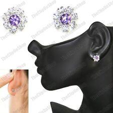 CLIP ON magnetic studs PURPLE CZ flower CRYSTAL silver rhinestone STUD EARRINGS