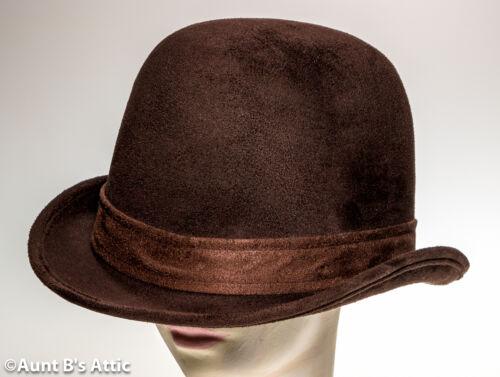 Derby Hat Dark Brown Faux Suede Deluxe Victorian Steampunk Costume Hat
