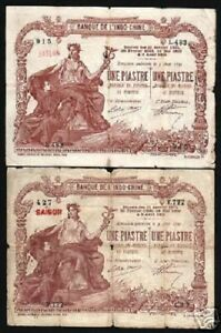 FRENCH-INDO-CHINA-1-PIASTRE-P-34-1909-SAIGON-CURRENCY-VIETNAM-BILL-BANK-NOTE