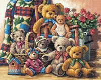 Cross Stitch Kit Gold Collection Teddy Bear Gathering Family Portrait 35115