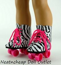 "ZEBRA PRINT ROLLER SKATES SKATING SHOES Fits 18"" American Girl Doll Accessories"