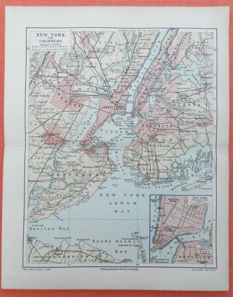 Kenntnisreich New York Umgebung Hudson River Long Island Brooklyn Sandy Hook Landkarte 1897