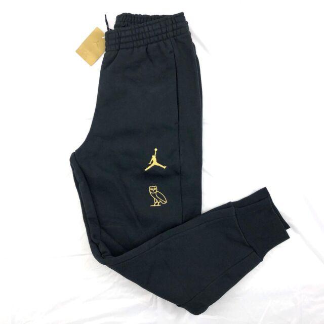 women website for discount attractive style Nike Air Jordan OVO Drake Fleece Sweatpants Black Gold 826739-010 Men's L-XL