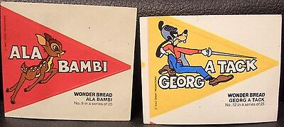 Vintage Walt Disney Wonder Bread Stickers, Vintage! (2)