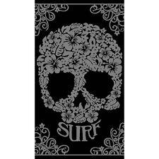 Serviette Drap de plage Crâne tête de mort Surf noir et gris en Jacquard
