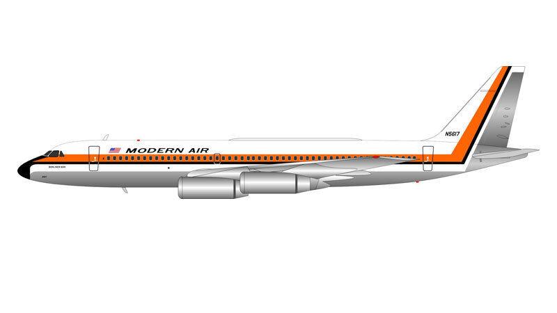 IF990KV001P 1 200 MODERN AIR CONVAIR CV-990 N5617 BERLINER BEAR BEAR BEAR POLISHED W STAND feb4d8