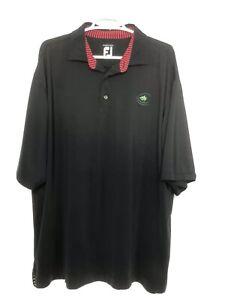FJ-Foot-Joy-Mens-XL-Black-Polo-Golf-Shirt-Short-Sleeve-Stretch-Prodry-Lisle