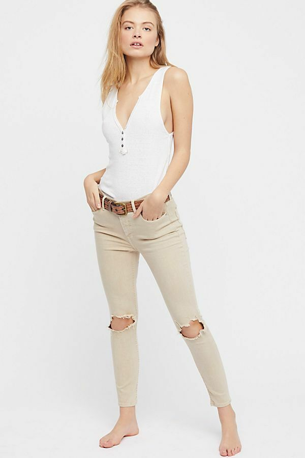 NWT Free People High Rise Busted Knee Skinny Jeans KHAKI 26-27-28-29