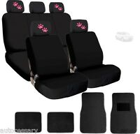 4x Pink Paws Logo Headrest Black Fabric Seat Covers And Mats For Ford