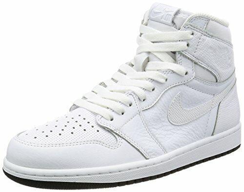Air Jordan Mens Retro 1 High Basketball Shoes White Perforated 555088 100