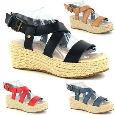 Ladies Womens Wedge Heel Espadrille Chunky Platform Gladiator Sandals Shoes Size