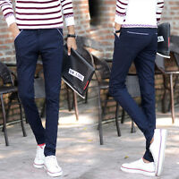 New Mens Slim Leg Long Straight Casual Pencil Pants Skinny Solid Jeans Trousers