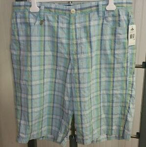 NWT-ENYCE-Clothing-Co-Urban-Blue-Green-Yellow-Gold-Plaid-Shorts-Size-40-Baggy
