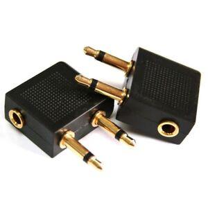 2-pcs-Airplane-Flight-Headphone-Adapter-for-3-5mm-Plug-Jack-Socket-Converter-EU