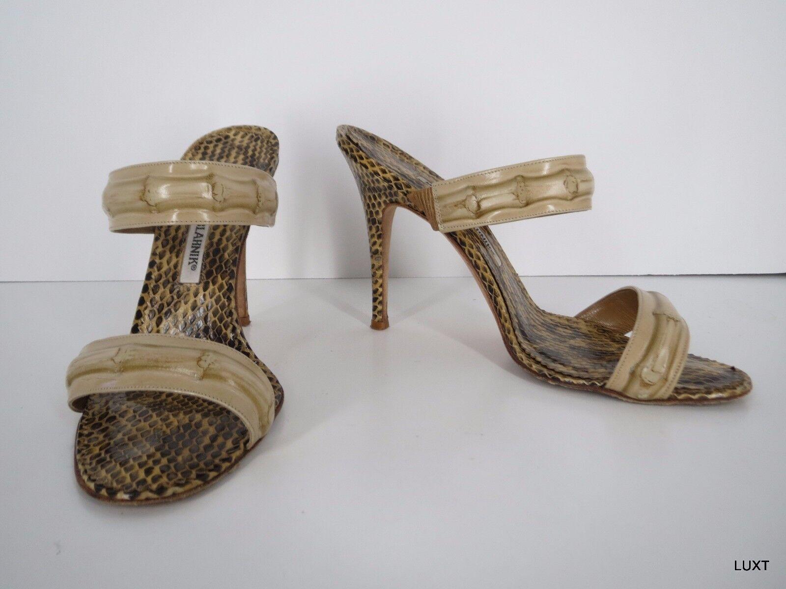 Manolo Blahnik Sandals Sandals Sandals Heels Slides Größe 8 38 Tan Bamboo Snakeskin Open Toe ec5e86