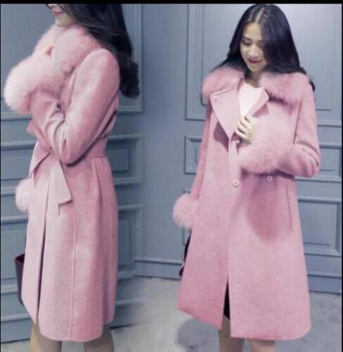 Women/'s Parka Fur Collar Wool Blend Long Coat Jacket Winter Belt Slim Outwear