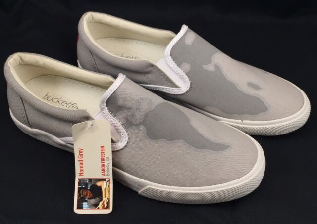 079635e3245b BucketFeet Nomad Grey Slip-on SNEAKERS Flats Canvas Gray World Map 6 ...