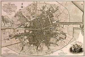 MAP-ANTIQUE-FADEN-1797-DUBLIN-CITY-PLAN-OLD-LARGE-REPLICA-POSTER-PRINT-PAM0898