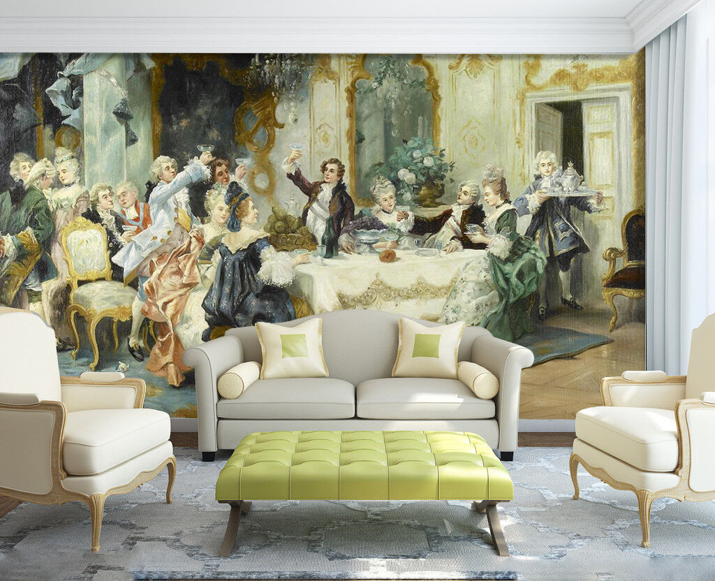 3D Dining Table Figure Painting Wall Paper Wall Print Decal Wall AJ WALLPAPER CA