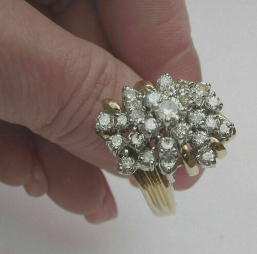 10K YELLOW GOLD OVER HUGE 3.00 CARAT DIAMOND WATERFALL CLUSTER COCKTAIL RING