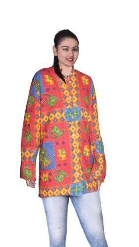 Indian Cotton 100/% Women Jacket kantha Work Floral Print Outwear Overcoat  S-7XL