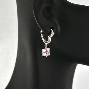 Lovely-14K-Solid-White-Gold-Heart-Motif-Dangle-EARRINGS-For-Young-LADIES