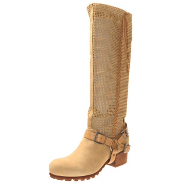 BACIO 61 PALPARE CAMEL TAN BROWN KNEE BOOTS WOMENS SIZE  6 LEATHER HARNESS