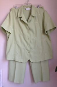 Alfred-Dunner-2-Two-Pcs-Set-Light-Green-Suit-Jacket-Pants-Plus-Size-16-18-New