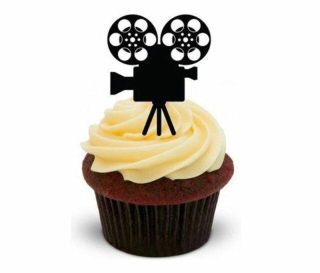 Novelty Old Film Reel Camera 12 Stand Up Edible Image Cake Toppers