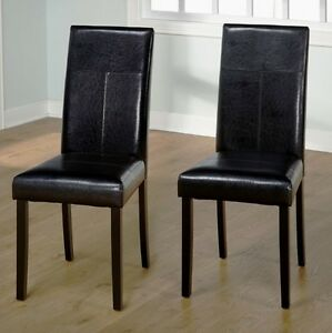 black leather dining room chairs | Black Leather Dining Room Chairs (Set of 2) Parson Chair ...