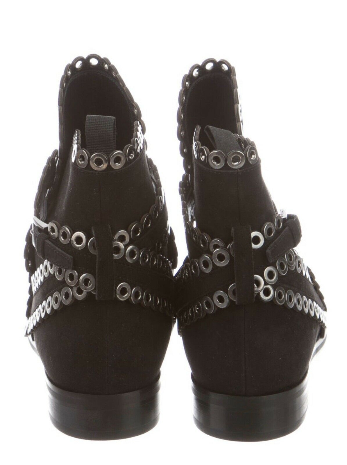 AZZEDINE ALAIA Black Suede Grommet Ankle Boots Si… - image 4